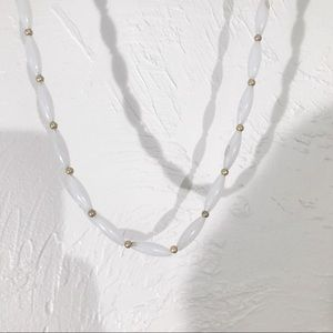Vintage Gold & White Costume Jewelry Necklace